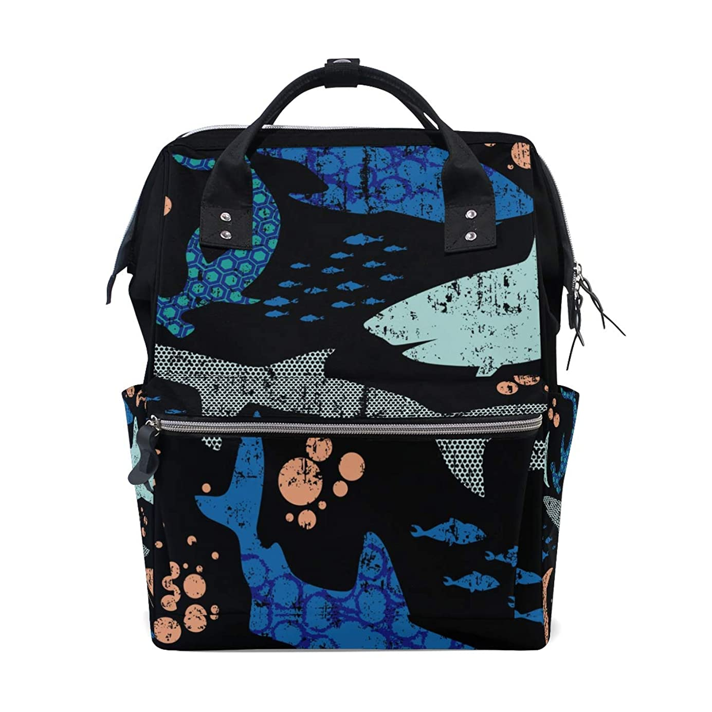Sharks Fishes School Backpack Large Capacity Mummy Bags Laptop Handbag Casual Travel Rucksack Satchel For Women Men Adult Teen Children ocewwf3113
