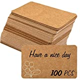 100pcs 3.54'x2' Blank Kraft Paper Business Card, Words Message Notes paper Tags, Mini Craft Cardboard Festival gifts (Brown)