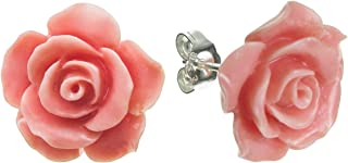 Sterling Silver Simulated Coral Rose Earrings Stud Post 15mm