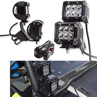DaSen For 4x 18W High Power Spot LED Work Light Pod W/A Pillar Roll Bar Mounting Bracket & Wiring harness Fit 2014-2019 Polaris RZR XP 1000 900 Models