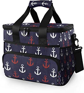 Rachel Dora Cooler Bag Blue White Red Anchor Insulated Picnic Basket 24 Cans, 15L Leakproof Portable Cooler Basket with Handle Shoulder for Outdoor,Travel, Shopping, Camping, Car