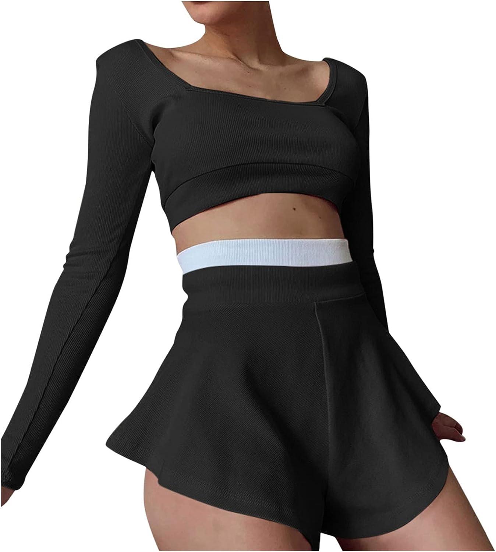 Briskorry Conjunto de ropa de correr sexy para mujer, monocolor, camiseta deportiva y pantalón corto con empalmes de colores