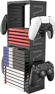 Tour de stockage de jeu avec support de contrôleur Jeux universels et tour de stockage Blu-ray pour PS4 PS5 Switch box Gam...