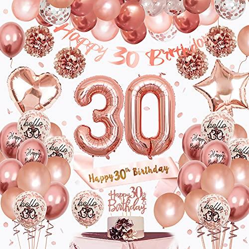 SPECOOL 30 Anni Addobbi per Feste di Palloncini in Oro Rosa Compleanno , Decorazioni Compleanno Palloncini in Oro Rosa e Pompon di Carta, Fascia di Compleanno Birthday Decorazione per Ragazze Donne