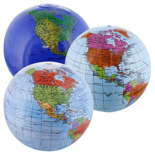 "TCP Global 12"" Inflatable World Globes (Set of 3 Designs) - Political, Topographical - Fun & Educational, Learn Earth's Geography"