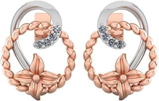 Perrian 18K Rose Gold 0.04 Carat Round (SI2 Clarity, GH Color) Diamond Earrings for Women