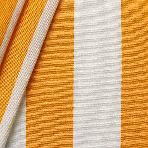 STOFFKONTOR Outdoor Stoff Markisenstoff - Outdoorstoff Meterware wasserabweisend - Sonnenschutz Stoff Blickdicht und farbecht - Gelb-Weiss