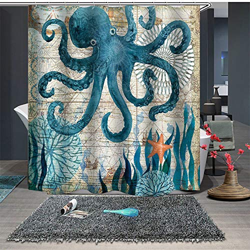 Chickwin Anti-Schimmel und Wasserdicht Duschvorhang für Badezimmer, 3D Vintage Meerestiere Polyester Drucken mit 12 Duschvorhangringe Waschbar Duschvorhang (180x200cm,Krake)
