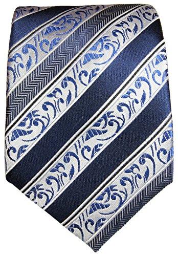 Cravate bleu baroque rayée ensemble de cravate 3 Pièces (100% Soie Cravate + Mouchoir + Boutons de manchette)