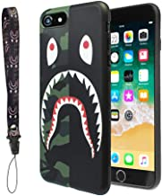 iPhone 7/8 Shark Face Case Street Fashion: Luxury Flexible Durable Designer Protective TPU Cover/Bumper/Skin/Cushion with Wrist Strap (Compatible with 4.7