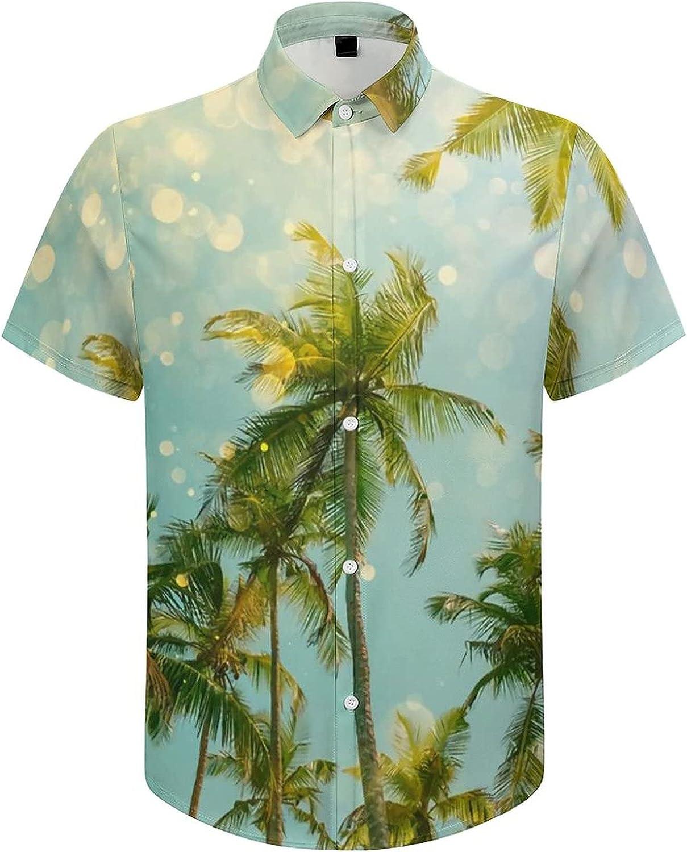 Men's Short Sleeve Button Down Shirt Tropical Trees Glisten Summer Shirts