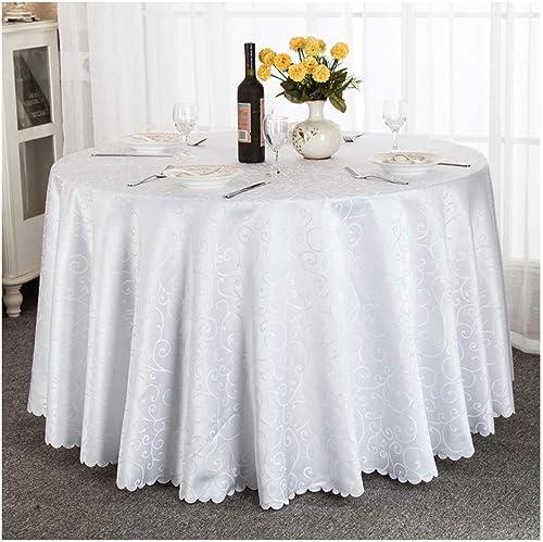 Qiao jin Tischdecke Weißs Hotel Restaurant Runde Tischdecke Haushalt Tischw he Abdeckung Polyester Faser Grill Outdoor Camping Tischdecken (Größe   Round-320cm)