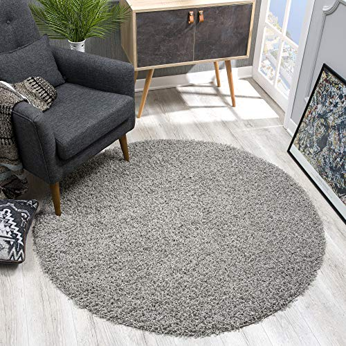 SANAT Teppich Rund - Hellgrau Hochflor, Langflor Modern Teppiche fürs Wohnzimmer, Schlafzimmer,...