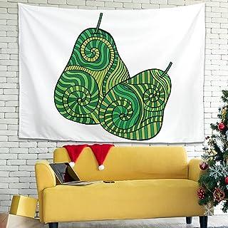 Zhenxinganghu Tapiz de pared con diseño de pera, decoración para salón, dormitorio, habitación, color blanco, 150 x 130 cm