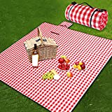 Ruisita Large Picnic Blankets Checkered Picnic Blanket 79 x 79 Inches with Waterproof Backing Waterproof Portable Mat for Outdoor Picnics Camping Picnic Blankets, Red and White
