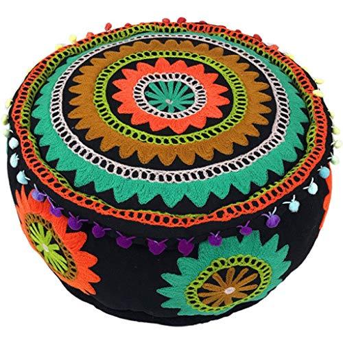 QTQHOME Handgefertigt Sachen Hocker Fußstütze Home Decor,Indischen Marokkanischen Pouf Ottomane,Bestickt Boho Bodenkissen,Vintage Patchwork Ethnischen Baumwolle Bodenkissen-29 40x40x20cm(16x16x8inch)