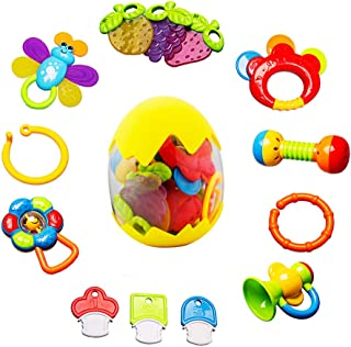 Baby Rattles Teether Toy - sunwuking 13 Pieces Newborn Infant Shaking Rattles Set with Box Packing Educational Rattle Toy ...