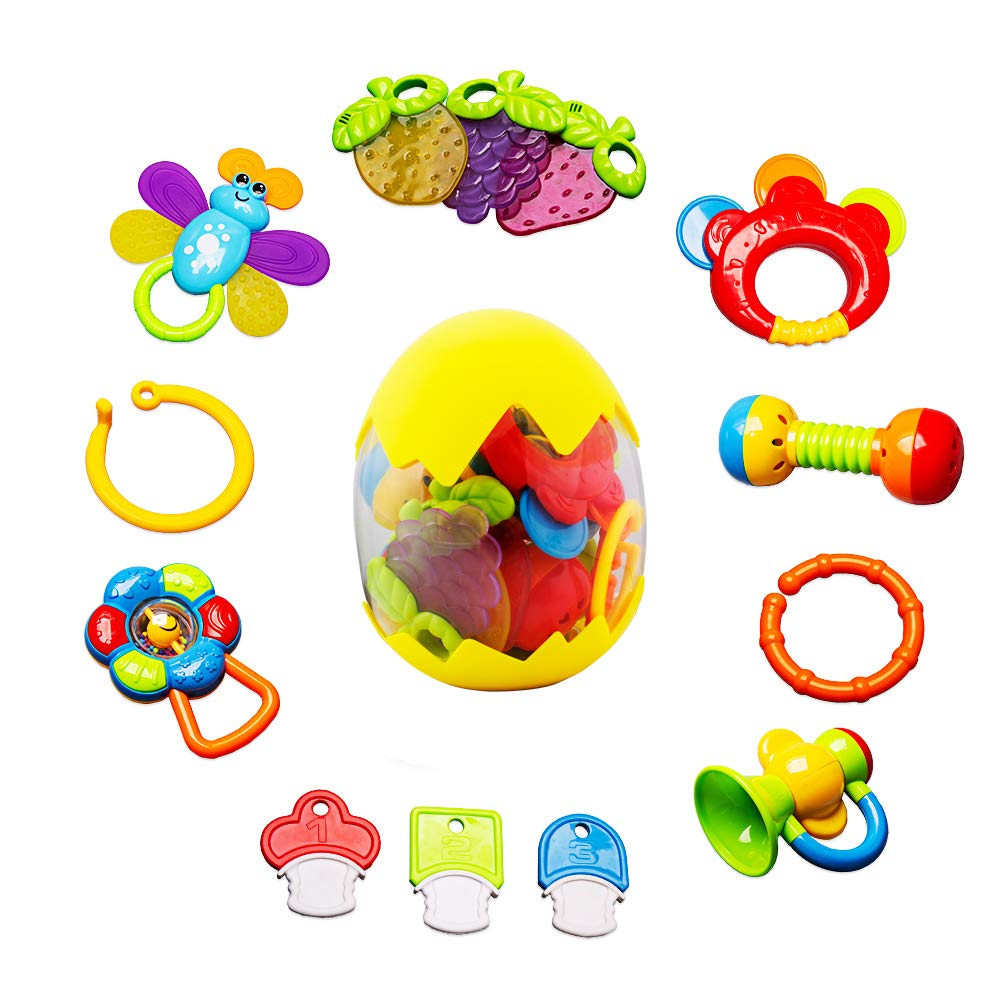 Baby Rattle Teether Toy - Teething Toy for Baby 6-12 Months Newborn Infant Rattles Set with Box Packing Educational Rattle Toy for Baby for 3, 6, 9, 12 Months