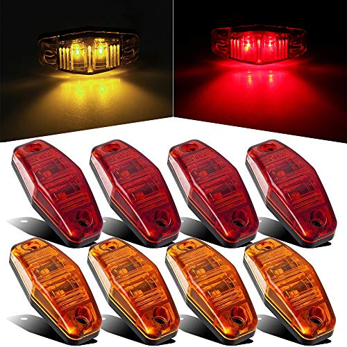 8Pcs Red/Amber Side Fender Marker Lights 2 LED Identification Lights Sealed Mini LED Lamp for Truck Boat Trailer Universal, Surface Mount 2 Wire 2.54 x 1.06 (4 Amber and 4 Red)