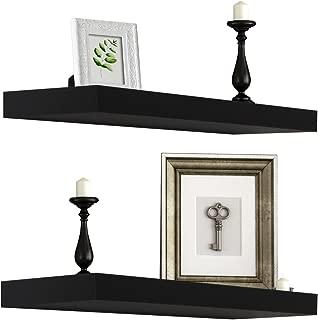 Sorbus Floating Shelf — Hanging Wall Shelves Decoration — Perfect Trophy Display, Photo Frames (Black)