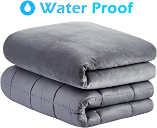 Roomate Weighted Blanket & Removable Cover - Resist Water Spills, 2 Models for Kids and Adults - Cool Breathable Inner & Ultra-Soft Minky Fleece Cover, Grey, 48''72''-15LB