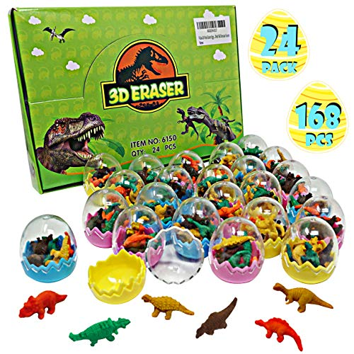 FiGoal 168 PCs Dinosaur Erasers for Easter Gift Prefilled in 24 Easter Eggs Assorted Collectible Dino Erasers Party Favors Games Prizes Carnivals School Supplies Gifts Egg Hunt Basket Stuffers