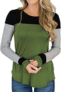 Women's Color Block Patchwork Tunic Tops Casual Long Sleeve Shirts S-XXL