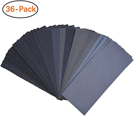 120 To 3000 Assorted Grit Sandpaper for Wood Furniture Finishing, Metal Sanding and Automotive Polishing, Dry or Wet Sanding, 9 x 3.6 Inch, 36-Sheet