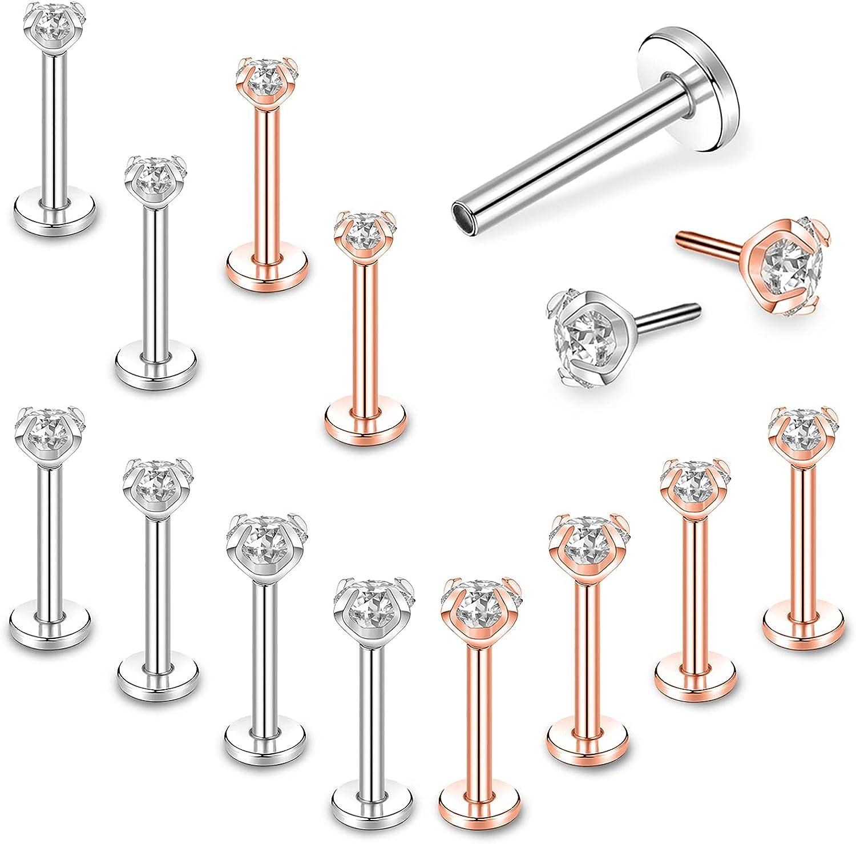 BodyAce 12pcs Surgical Steel Forward Helix Tragus Cartilage Earring Studs, 16g Push-in Lip Rings, CZ Labret Monroe Medusa Piercing Jewelry for Women Men