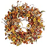 """Artificial Fall Wreath,22"""" Floral Wreath with Berries and Pumpkins Autumn Maple Leaves Wreath for Front Door Wall Window Farmhouse Decor Thanksgiving Harvest Festival Decor"""