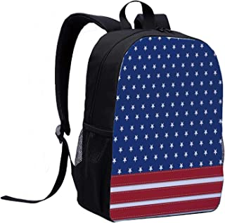 4th of July Decor Individual Backpack,Old Fashion US Flag Motif with Nostalgic Featured Stripes and Tones Print for School,12″L x 5″W x 17″H