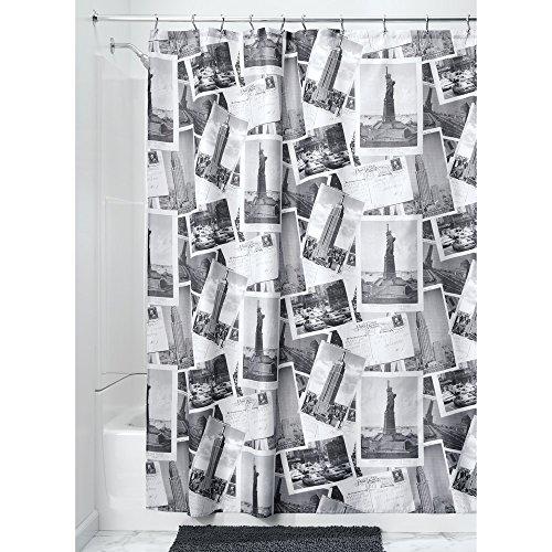 iDesign 66720EU Rideau de Douche en Tissu NYC-182, 182,9 cm, Blanc, Polyester, Gris/White, 182,9 x 182,9 x 0,4 cm