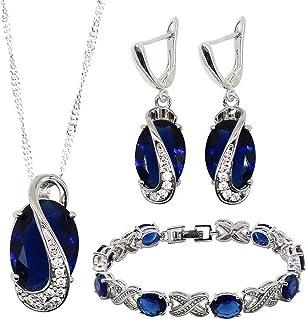 Women Jewelry Set Green x-Shape Bracelet Drop Earrings Necklace Pendant Bridal Wedding Jewelry