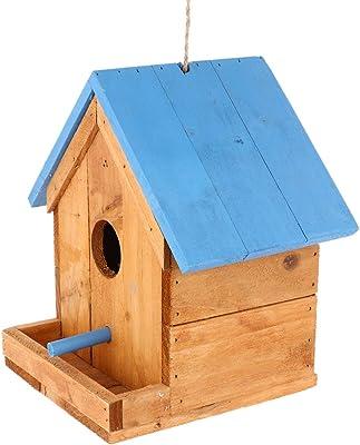 Cabilock Wooden House Bird Feeder Hanging Wood Bird Houses Hummingbird Feeder for Garden Yard Outside Decoration