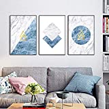 WEDSA Mural Canvas Painting Poster Decoración del hogar Minimalista Abstract Blue Marble Geometric Stripe Pattern Canvas Art Print Poster Picture Wall Office Modern Home Decoration 40x60cmx3 Sin marco