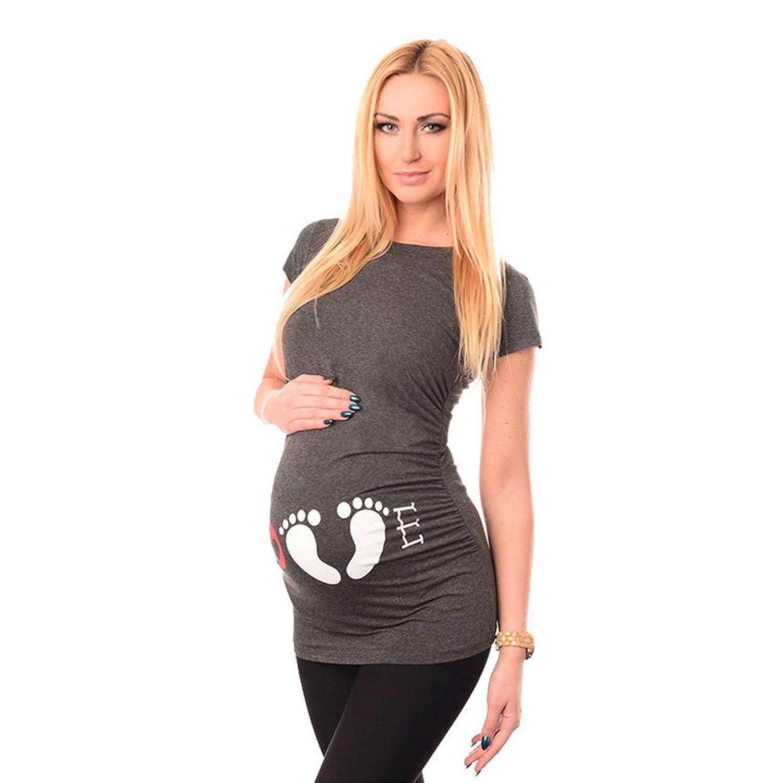 DeeploveUU ファッション快適なコットンラウンドカラー半袖愛プリントコットン妊娠トップTシャツティーマタニティ服