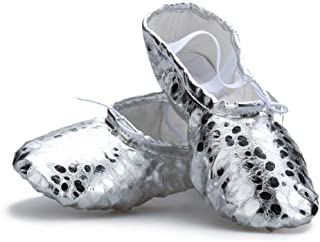 Girl's Spot Pu Ballet Dancing Yoga Practise Shoes,Silver,13 M US