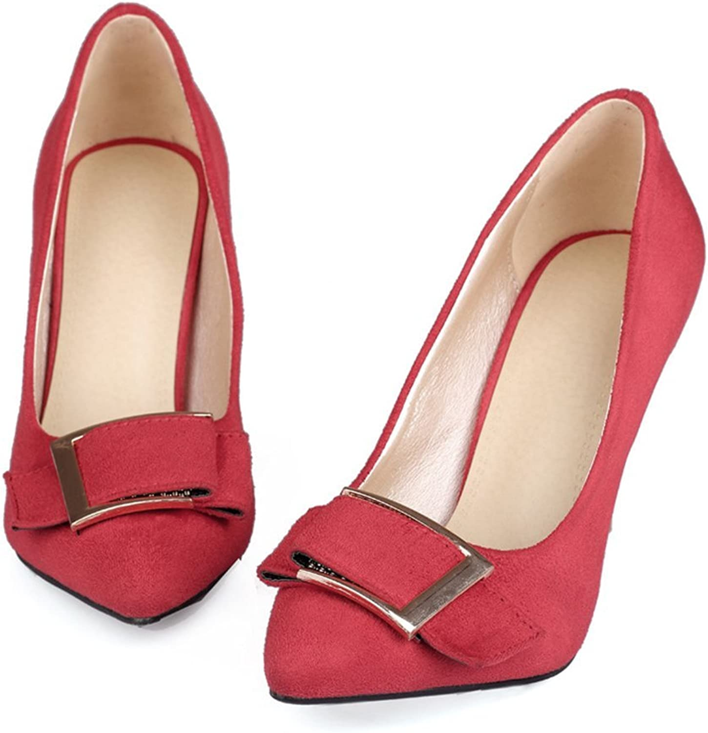 High-Heeled Women's shoes Pointed shoes Female Metal Buckle Stiletto High Heel Women's shoes Set Foot shoes