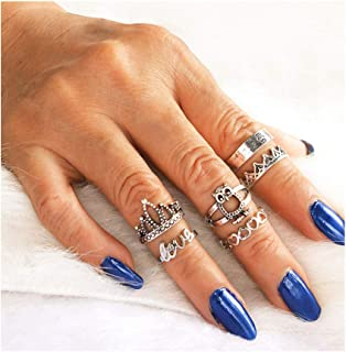 كامبيسيس بوهو خواتم مجموعة فضية مفاصل خواتم تكديس الجوف خاتم إصبع مجوهرات الملحقات للنساء والفتيات