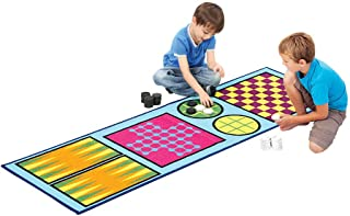 4-in-1 Game Rug – Childrens Play Rug - Rug Games for Kids – Backgammon – Solitaire – Tic Tac Toe – Checkers Rug – Play Rugs for Kids