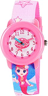 Toddler Kids Boys Girls Fabric Analog Watches Quartz Wrist Watch Waterproof Learning Time Wristwatches for Children