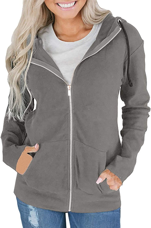 SALIFUN Women Full-Zip Hoodies Leopard Print Patchwork Pullover Sweatshirt Tops Long Sleeve Casual Outwear with Pocket