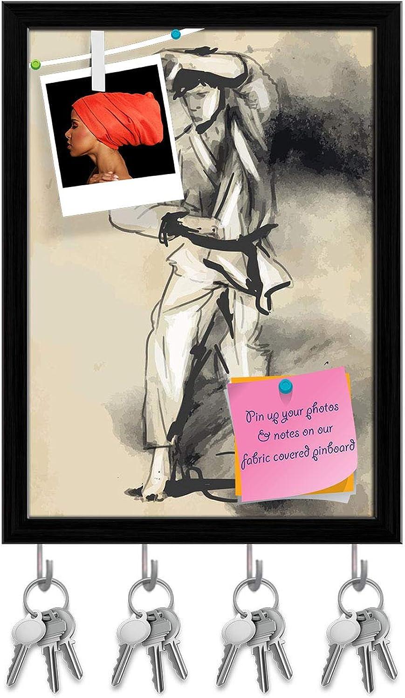 Artzfolio Martial Arts Karate Key Holder Hooks   Notice Pin Board   Black Frame 12 X 16.5Inch