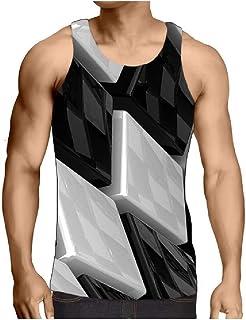 neveraway Men's Oversized Summer Round Neck Digital Print Casual Loose A-Shirt
