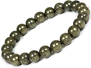 Reiki Crystal Products Natural Pyrite Bracelet 8mm for Reiki Healing and Vastu Correction Protection Concentration Spirituality and Increasing Creativity