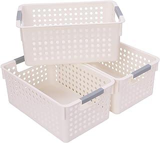 JAKAGO Lot de 3 paniers de rangement portables en plastique pour réfrigérateur, salle de bain, bureau, boîte de rangement ...