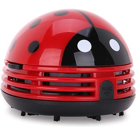 卓上クリーナー テントウ虫型 ハンディクリーナー ミニ乾電池式卓上そうじ機 (レッド)