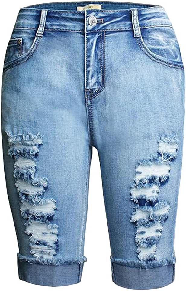 MOUTEN Womens Fashion High Waist Stretchy Destroyed Ripped Denim Jeans Shorts