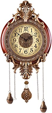 Snail LARGE Retro Style Vintage Royal Line Silent High-end Luxury Metal Wood Wall Clock with Swinging Pendulum