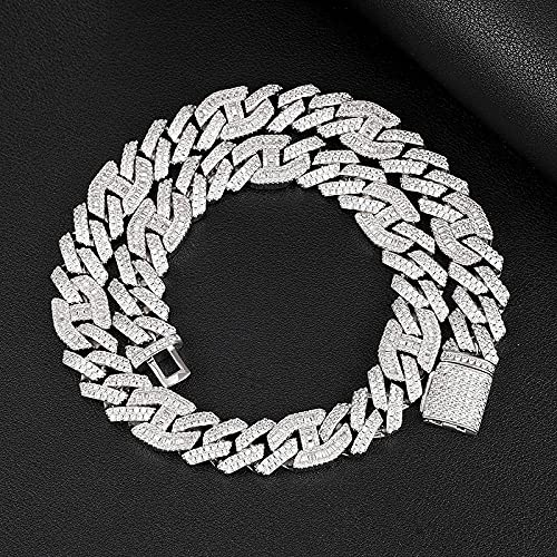 Sobneqce 14mm Heavy Miami Baguette Zircon Iced out Cuban Link Necklace Ajuste Collares Hip Hop Jewelry Regalo (Color : White Gold, tamaño : 16cm)